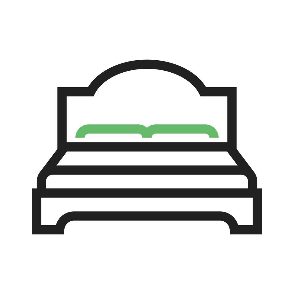 Double Bed I Line Green Black Icon Iconbunny