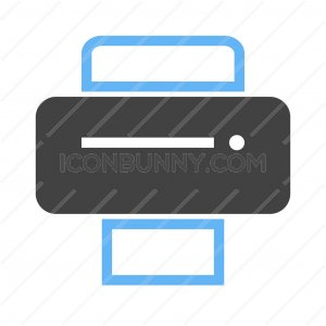 Printer I Blue Black Icon - IconBunny