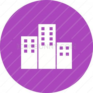 Apartments Flat Round Icon - IconBunny