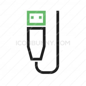 USB Cable Line Green Black Icon - IconBunny