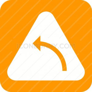 Left hand curve Flat Round Corner Icon - IconBunny