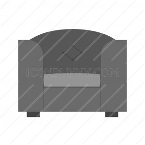Single Sofa Greyscale Icon - IconBunny
