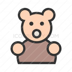 Stuffed Bunny Line Filled Icon - IconBunny