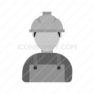 Construction Worker Greyscale Icon - IconBunny