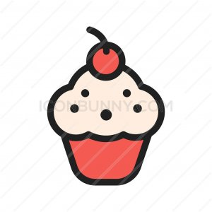 Cherry cupcake Line Filled Icon - IconBunny