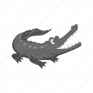 Alligator Greyscale Icon - IconBunny