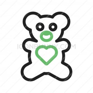 Stuffed Bear Line Green Black Icon - IconBunny