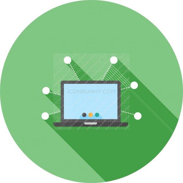 Digital Marketing Flat Shadowed Icon - IconBunny