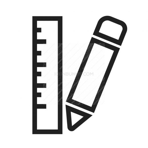 pencil  u0026 ruler line icon