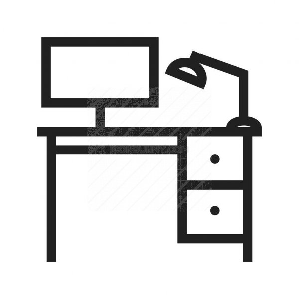 Office Desk Line Icon - IconBunny