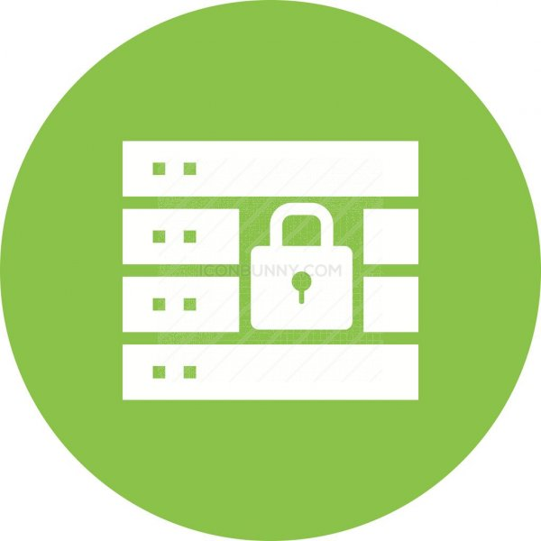 Secure Server Flat Round Icon