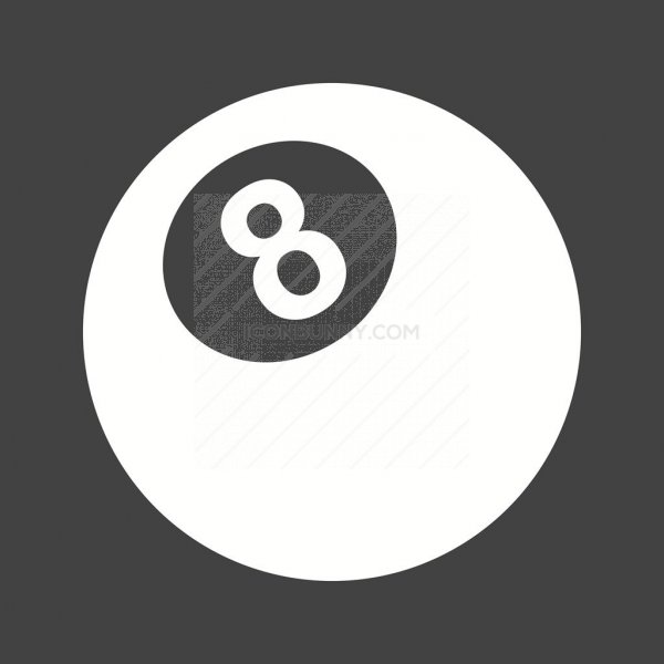 Eight Ball Glyph Inverted Icon