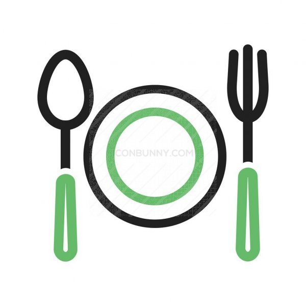 fork and spoon line green black icon iconbunny fork and spoon line green black icon
