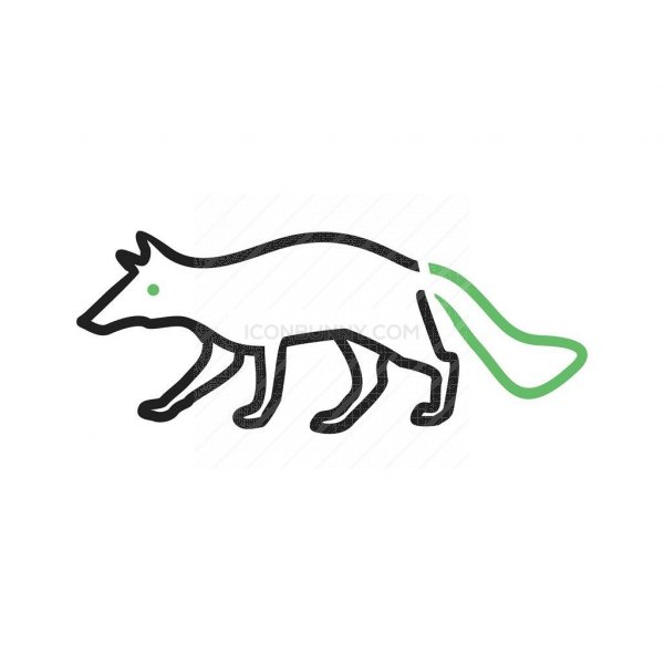 wolf line green black icon