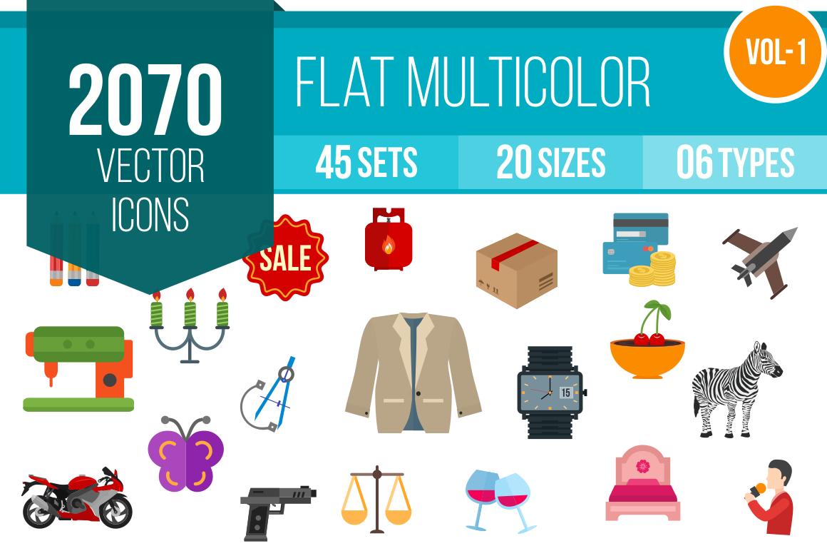 2070 Flat Multicolor cons Bundle - Overview - IconBunny
