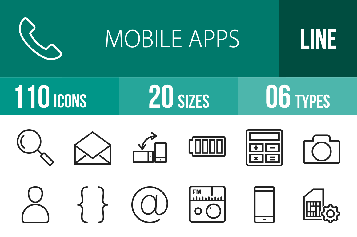 110 Mobile Apps Line Icons - Overview - IconBunny