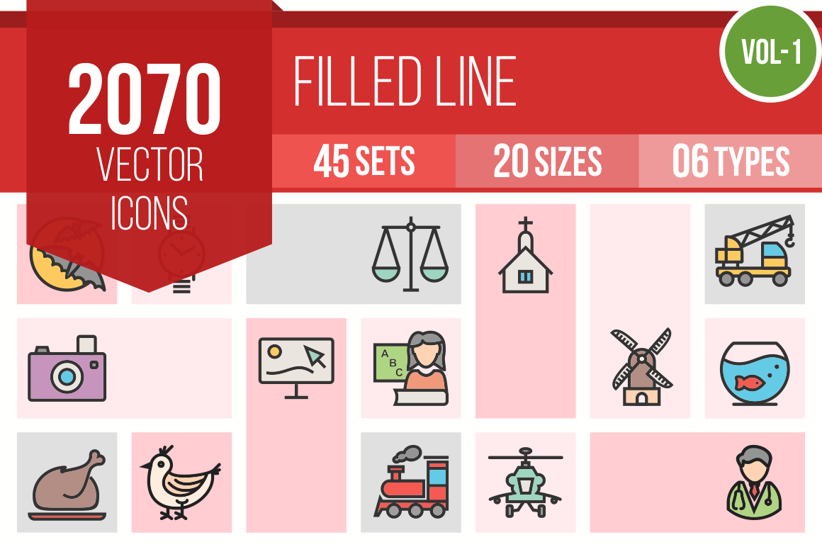 2070 Line Multicolor Filled Icons Bundle - Overview - IconBunny