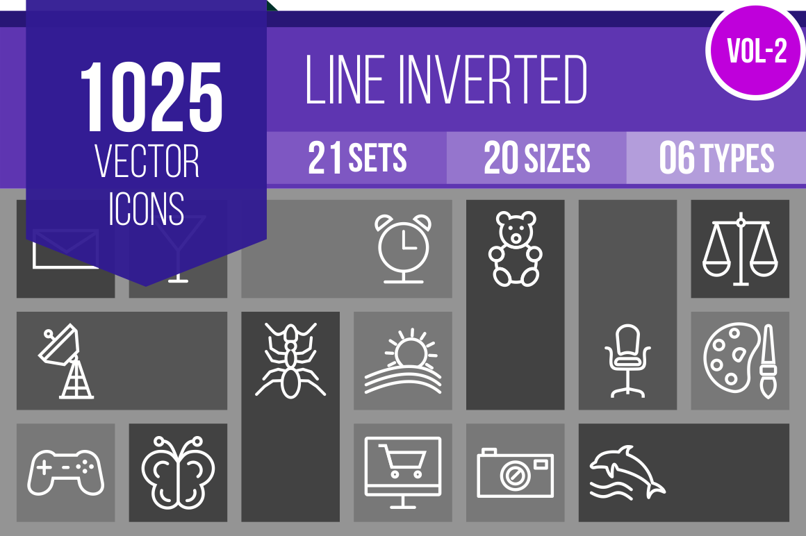 1025 Line Inverted Icons Bundle - Overview - IconBunny