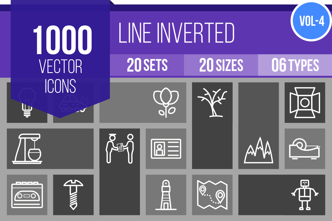 1000 Line Inverted Icons Bundle - Overview - IconBunny