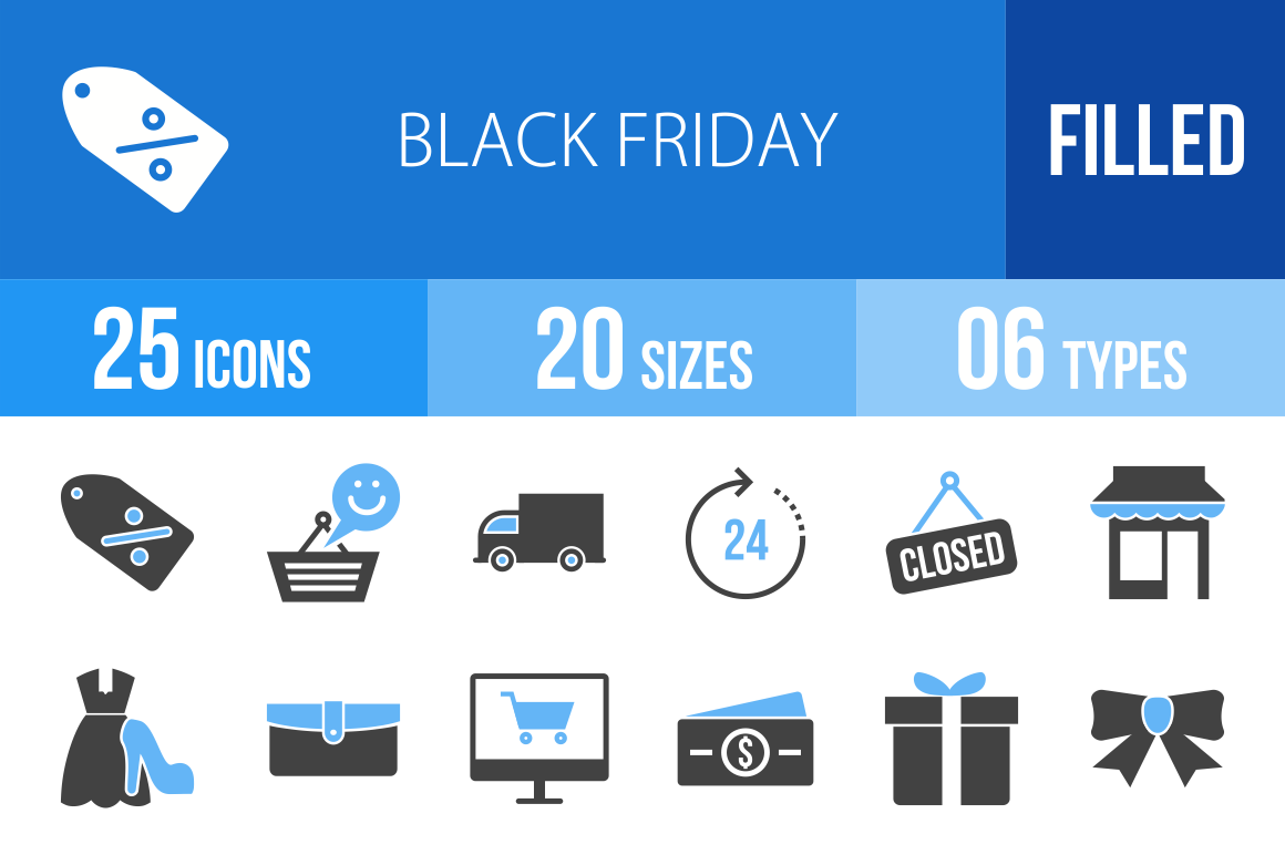 25 Black Friday Blue & Black Icons - Overview - IconBunny
