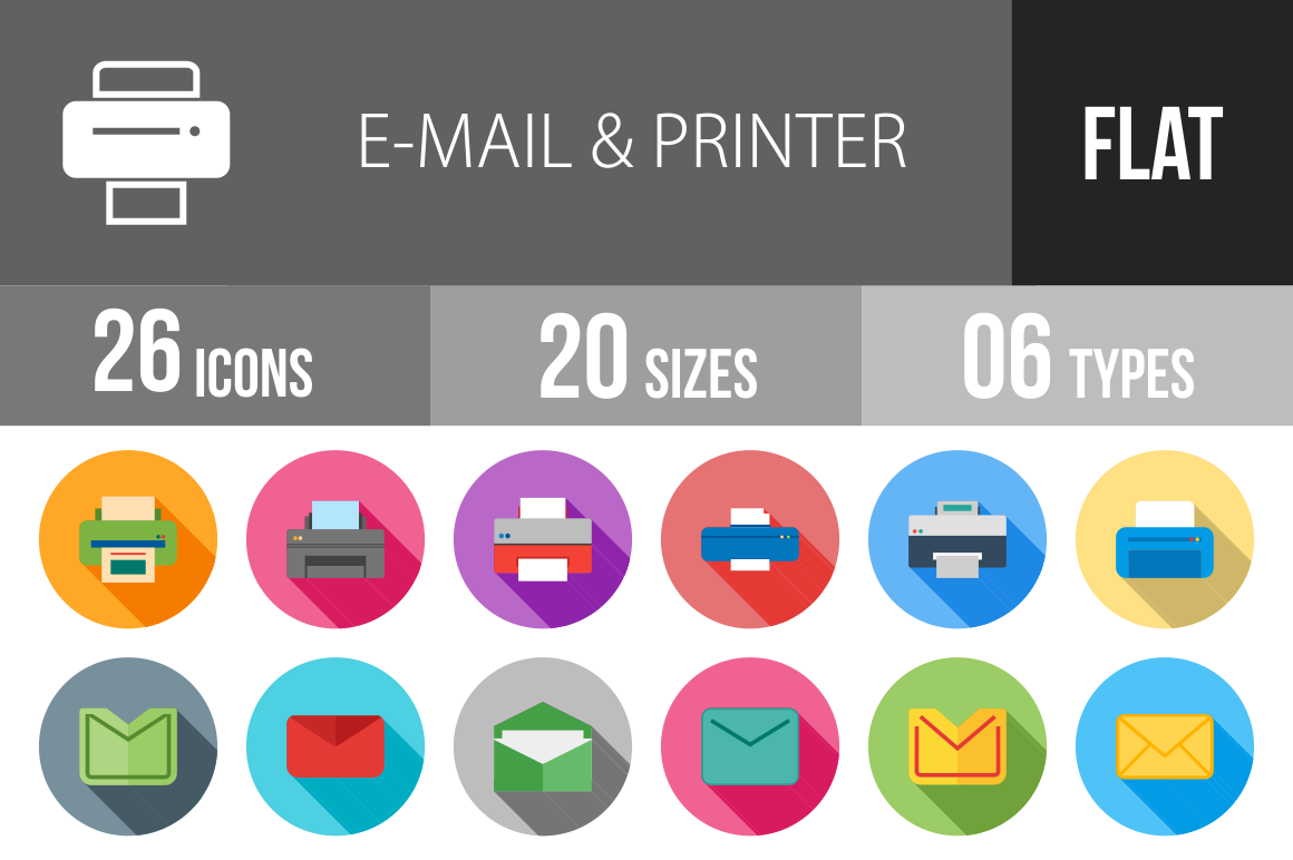 26 Email & Printers Flat Shadowed Icons - Overview - IconBunny