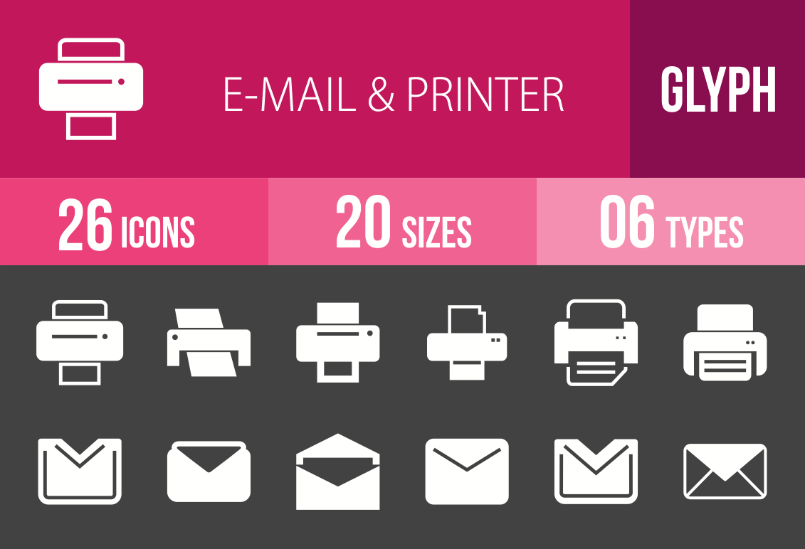 26 Email & Printers Glyph Inverted Icons - Overview - IconBunny