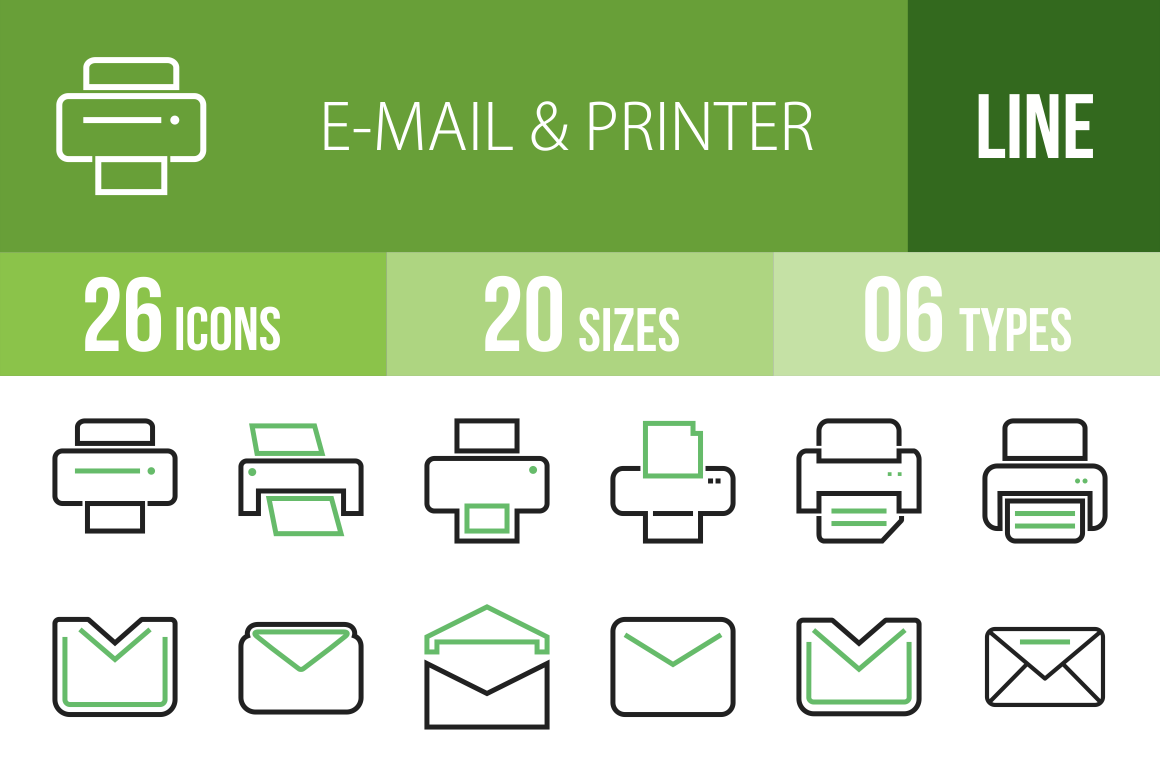 26 Email & Printers Line Green & Black Icons - Overview - IconBunny