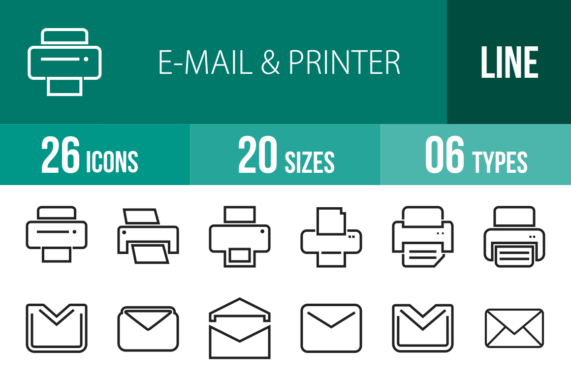 26 Email & Printers Line Icons - Overview - IconBunny