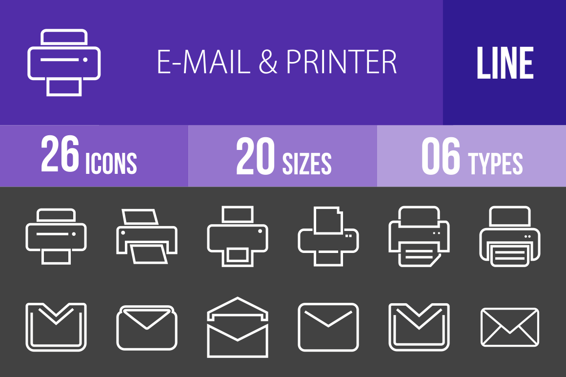 26 Email & Printers Line Inverted Icons - Overview - IconBunny