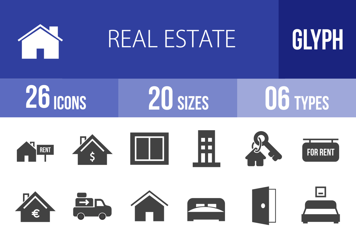 26 Real Estate Glyph Icons - Overview - IconBunny