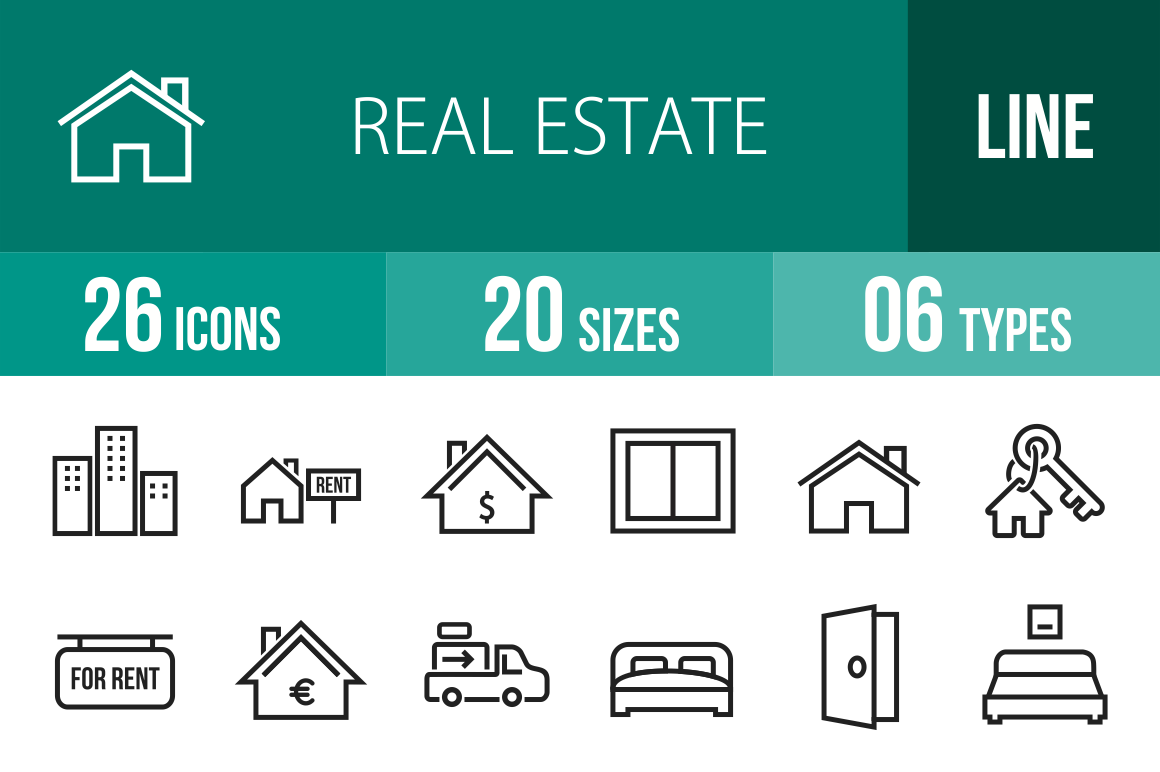 26 Real Estate Line Icons - Overview - IconBunny