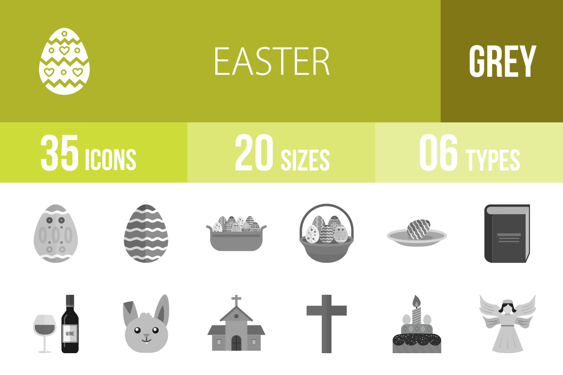 35 Easter Greyscale Icons - Overview - IconBunny