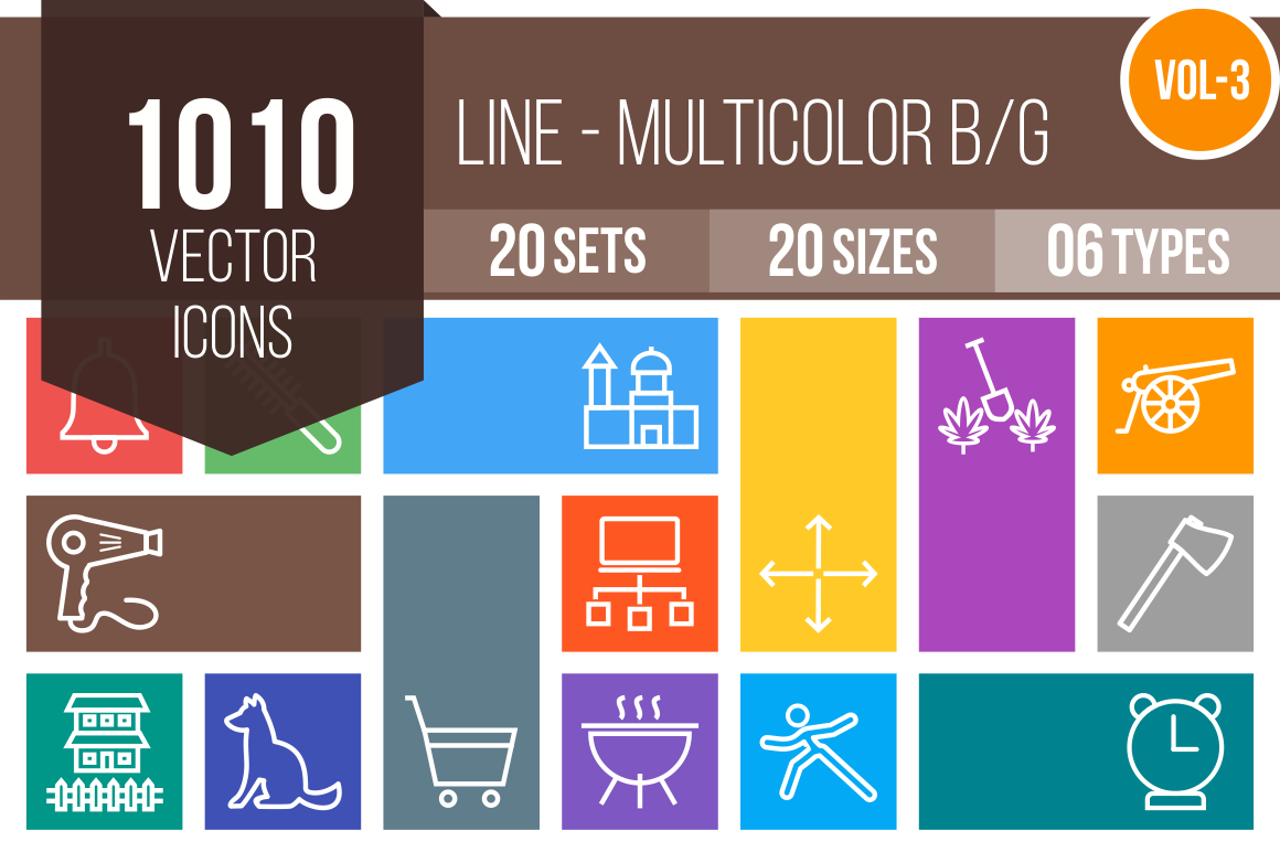 1010 Line Multicolor B/G Icons Bundle - Overview - IconBunny