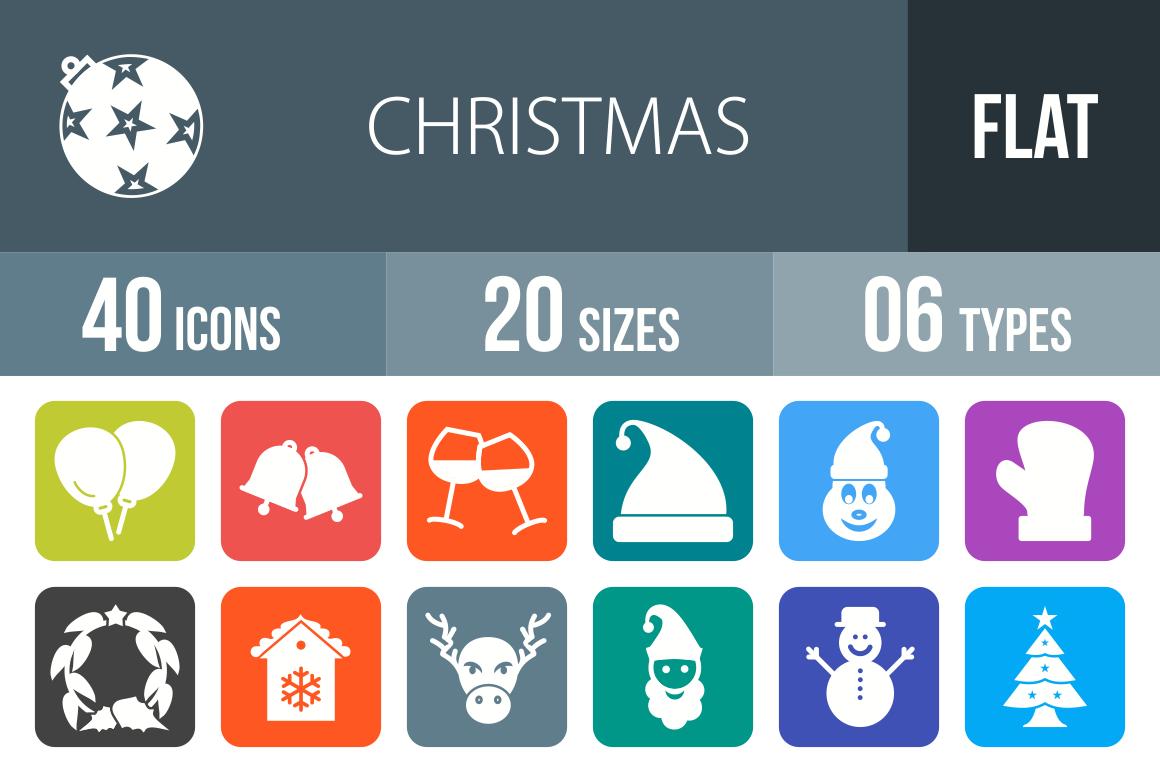 40 Christmas Flat Round Corner Icons - Overview - IconBunny