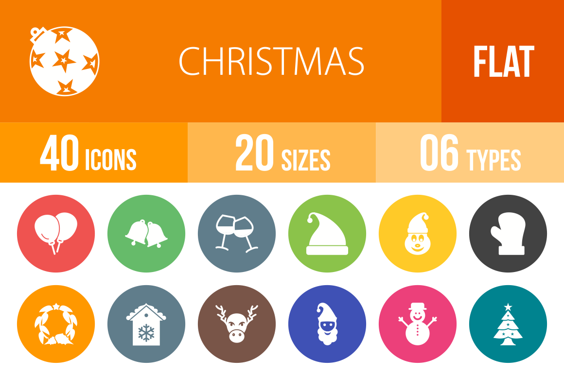 40 Christmas Flat Round Icons - Overview - IconBunny