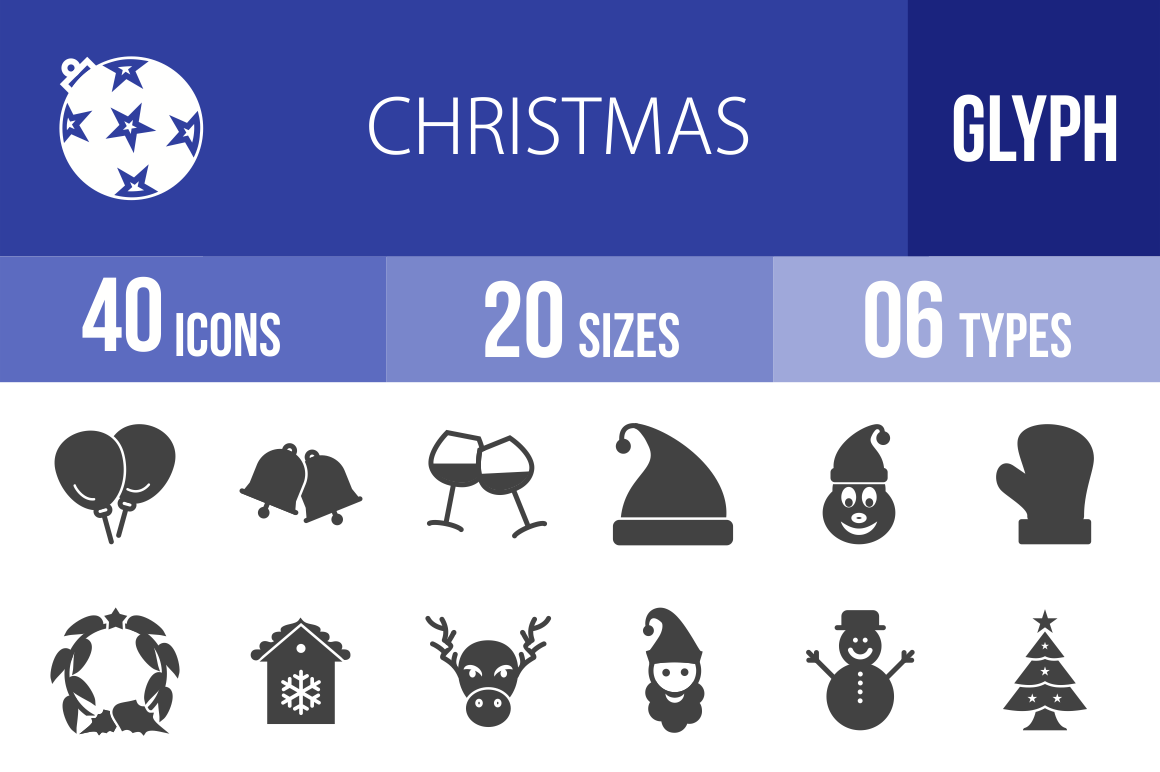 40 Christmas Glyph Icons - Overview - IconBunny