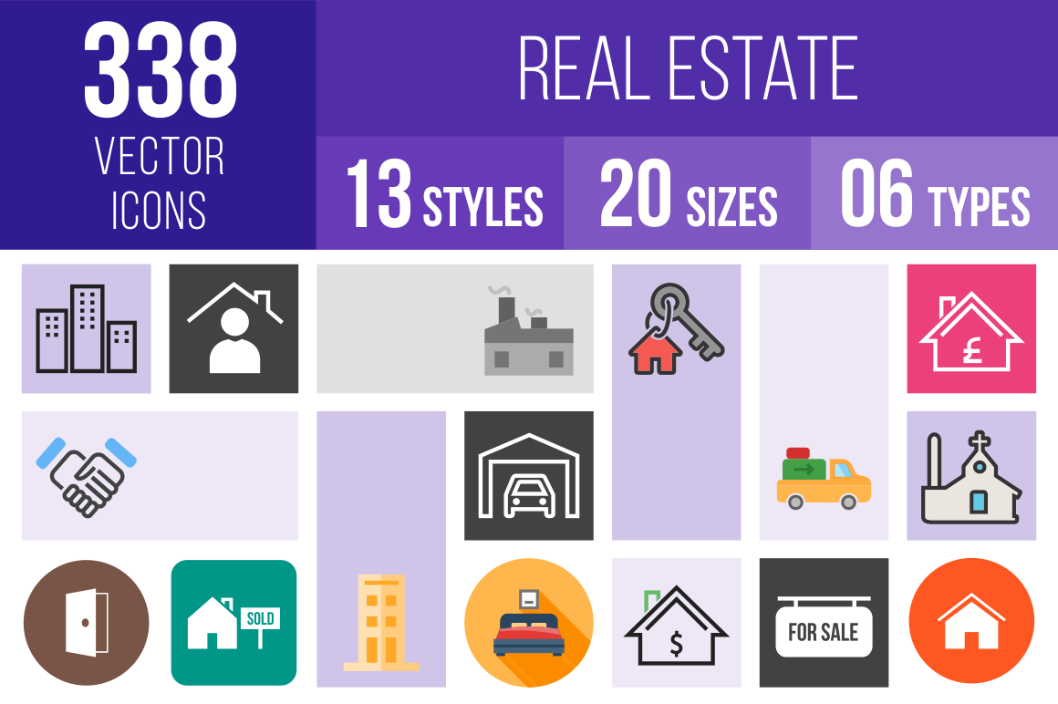 Real Estate Icons Bundle - Overview - IconBunny