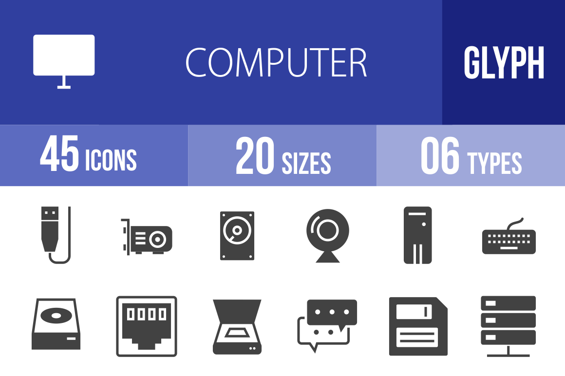 45 Computer & Hardware Glyph Icons - Overview - IconBunny