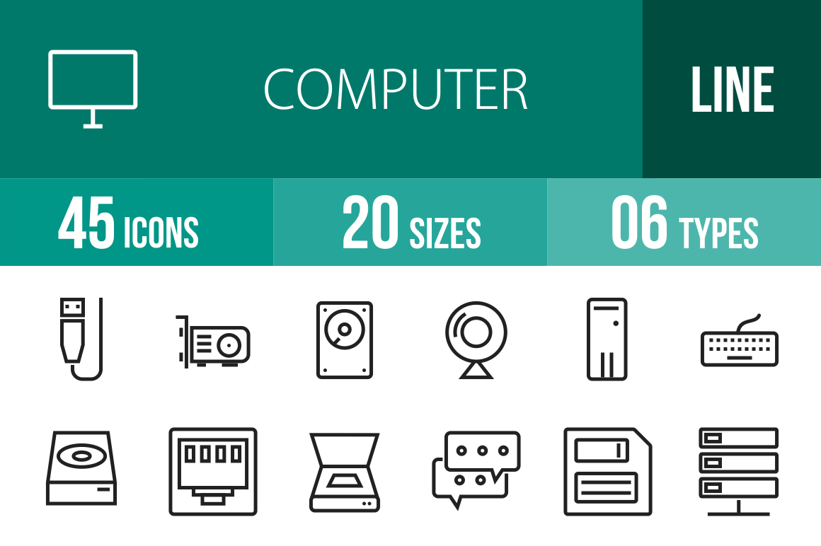 45 Computer & Hardware Line Icons - Overview - IconBunny