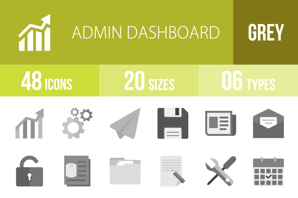 48 Admin Dashboard Greyscale Icons - Overview - IconBunny