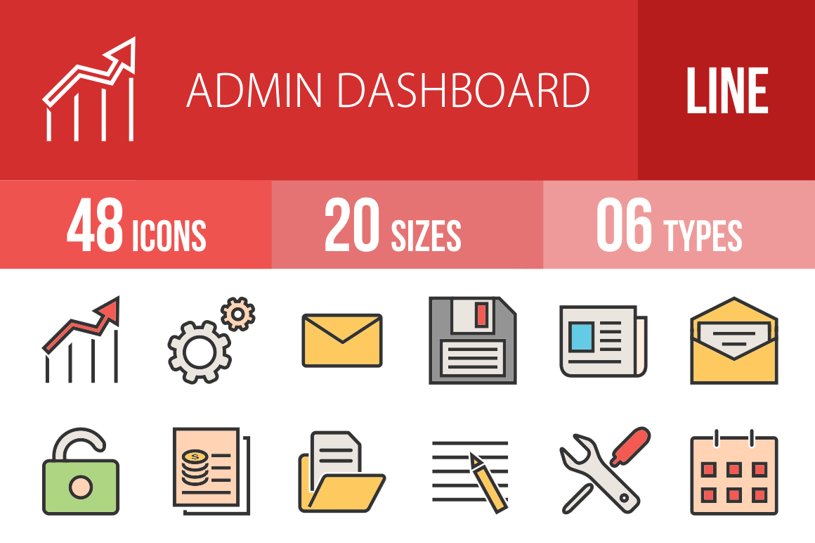 48 Admin Dashboard Line Multicolor Filled Icons - Overview - IconBunny