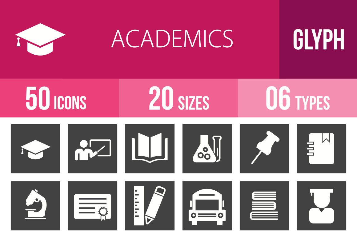 50 Academics Glyph Inverted Icons - Overview - IconBunny