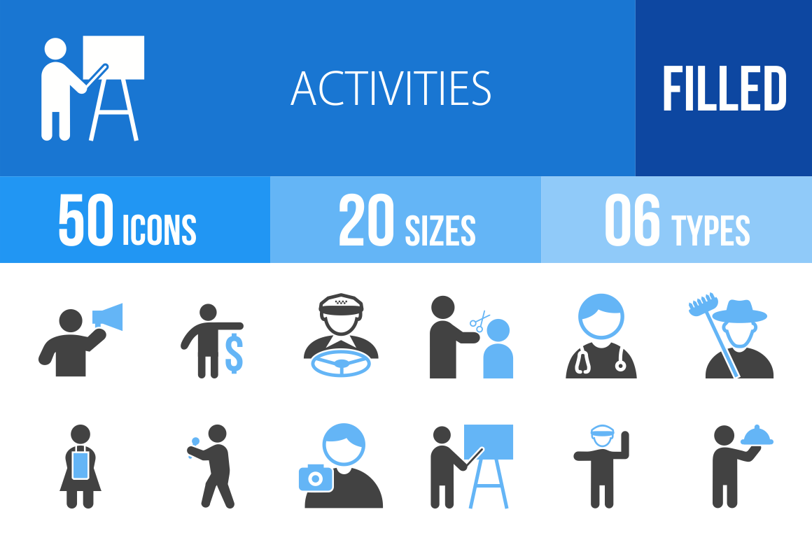 50 Activities Blue & Black Icons - Overview - IconBunny