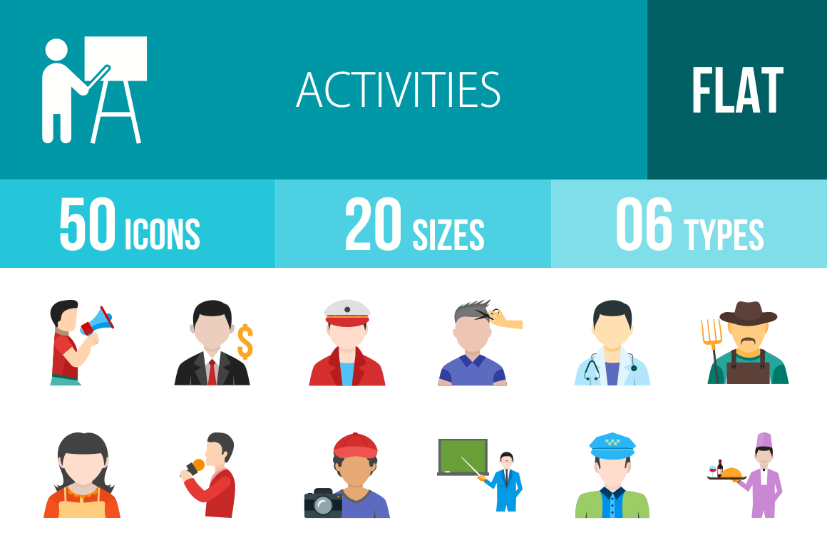 50 Activities Flat Multicolor Icons - Overview - IconBunny
