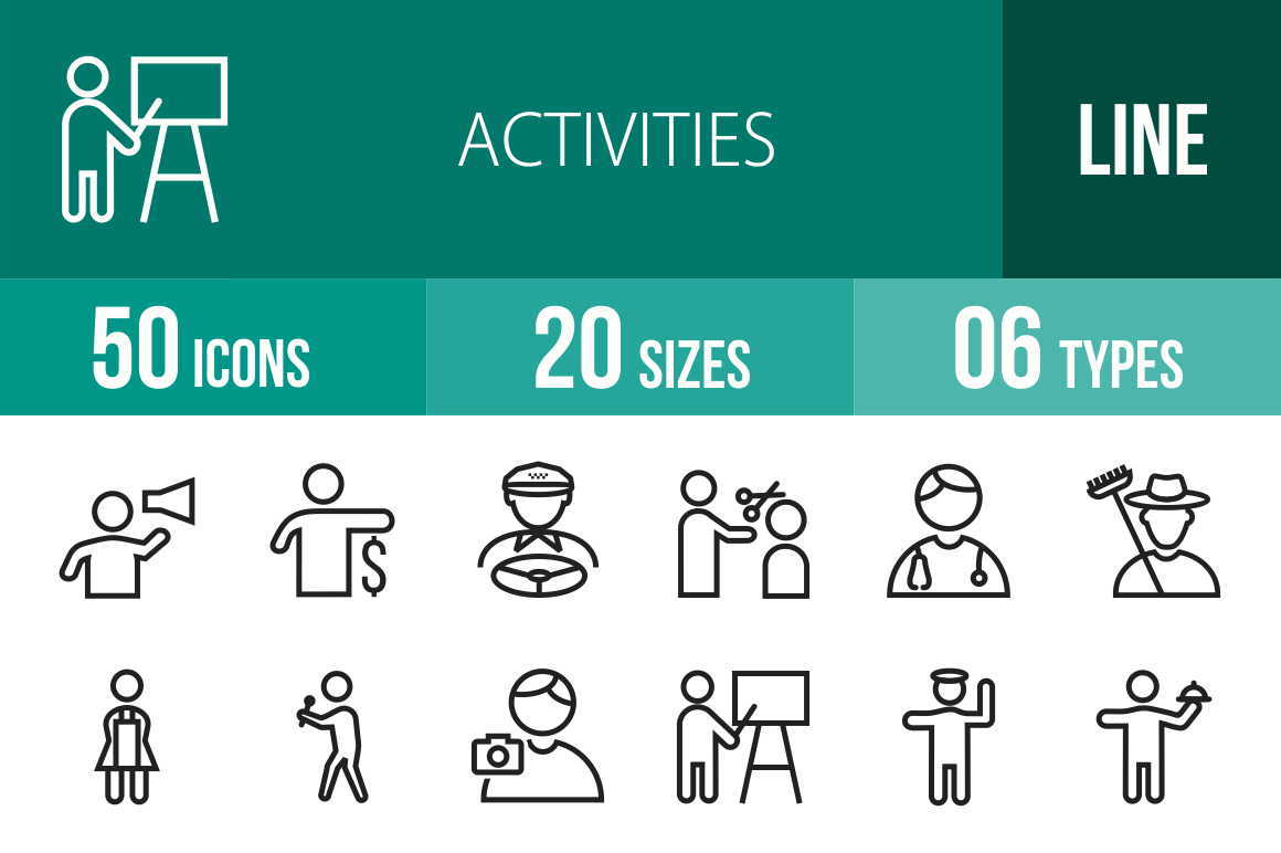 50 Activities Line Icons - Overview - IconBunny