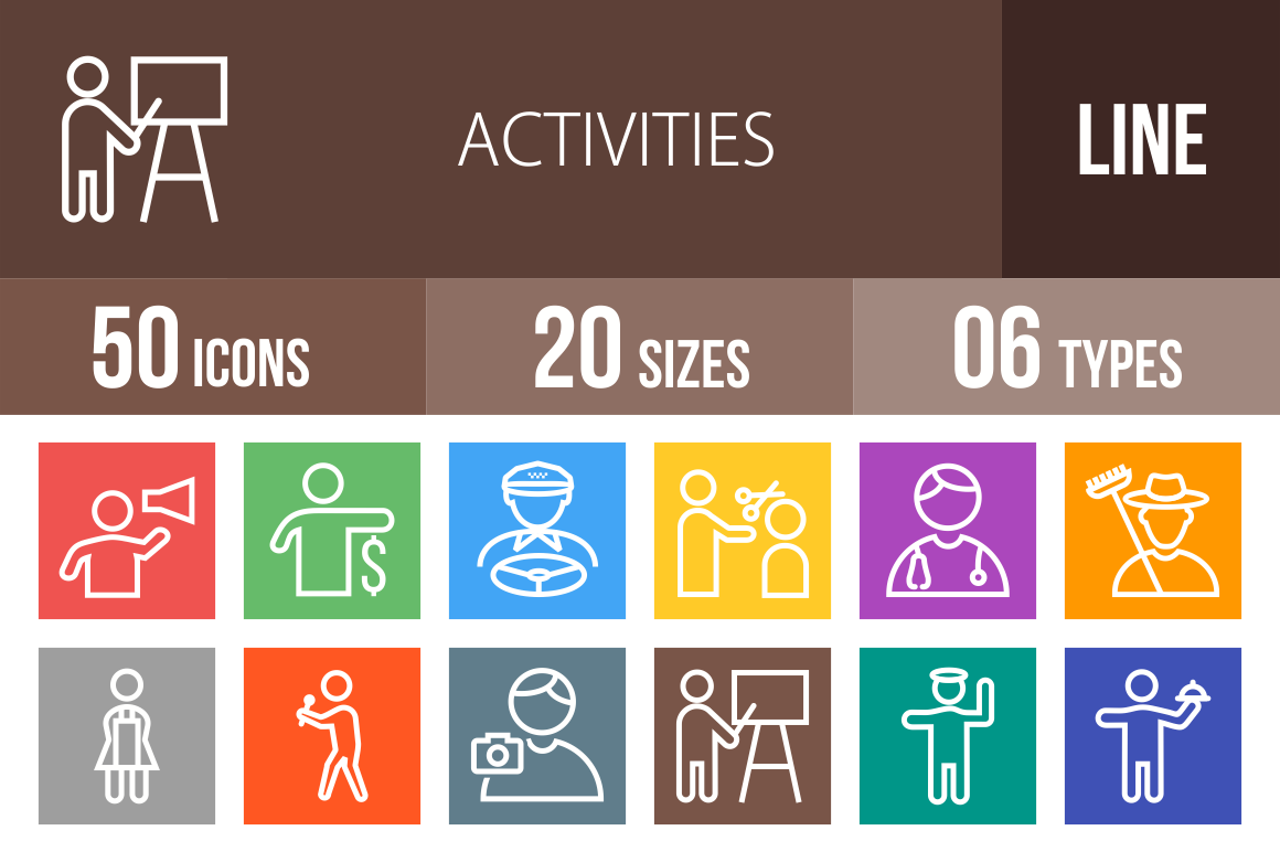 50 Activities Line Multicolor B/G Icons - Overview - IconBunny