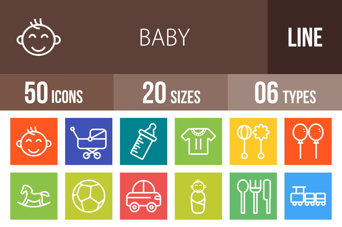 50 Baby Line Multicolor B/G Icons - Overview - IconBunny