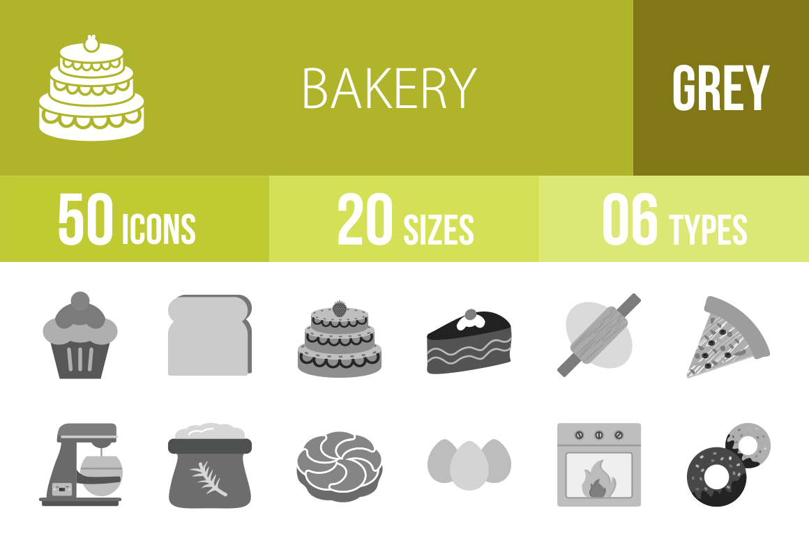 50 Bakery Greyscale Icons - Overview - IconBunny