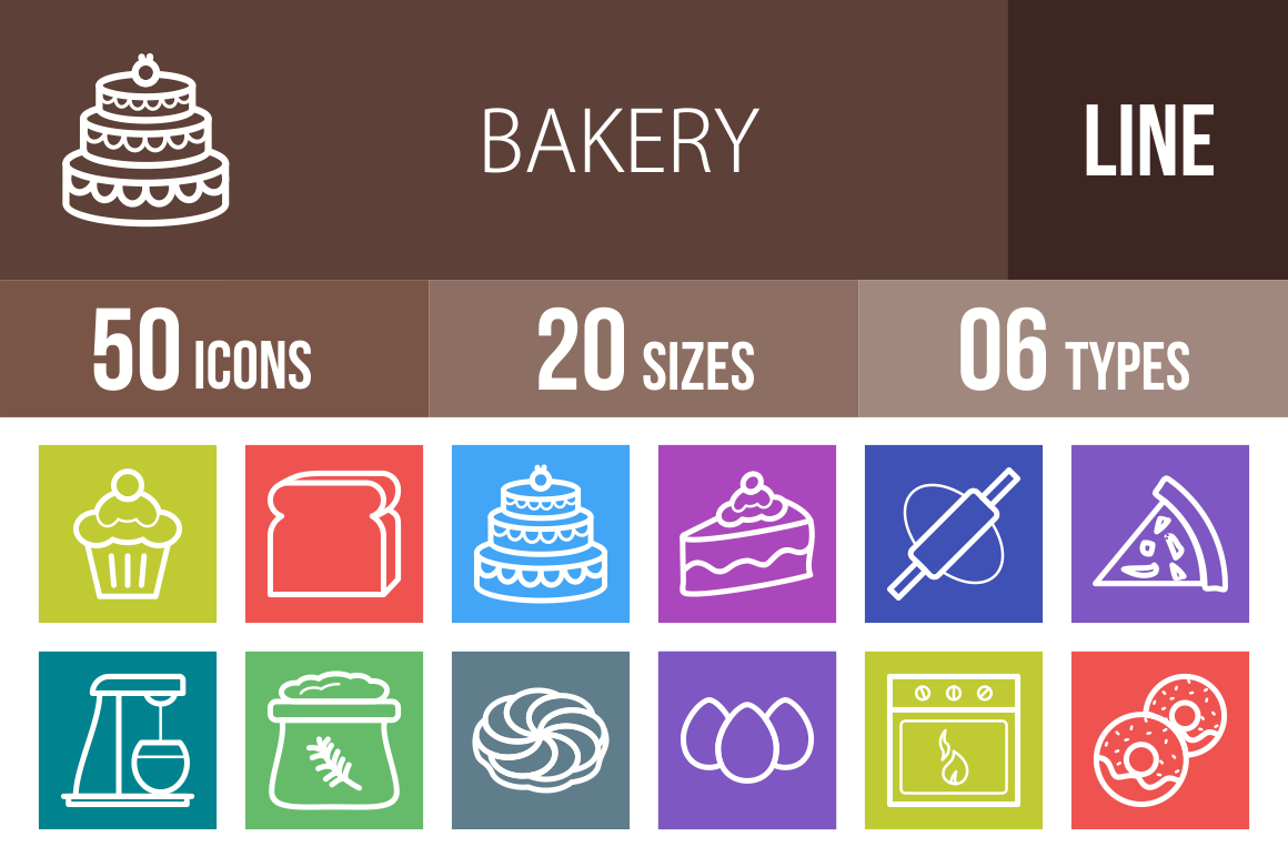 50 Bakery Line Multicolor B/G Icons - Overview - IconBunny