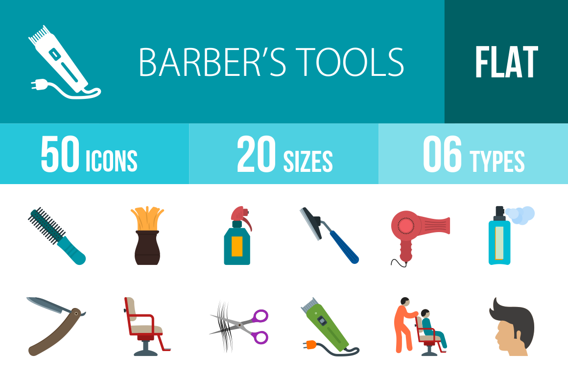 50 Barber's Tools Flat Multicolor Icons - Overview - IconBunny